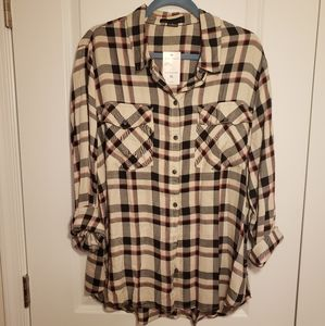 NWT Sanctuary XL Plaid Button Up